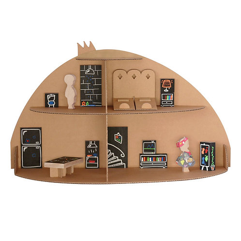 Maison de poupée en carton Paulette et Sacha
