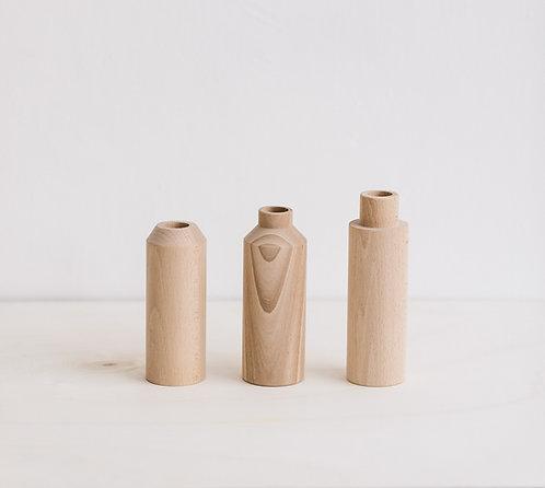 Lot de 3 Vases en bois de hêtre an°so