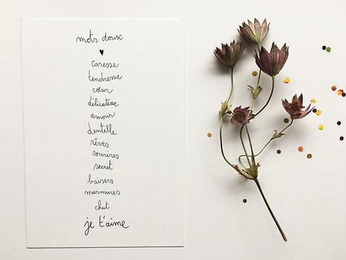 """Carte double avec enveloppe """"mots doux"""""""