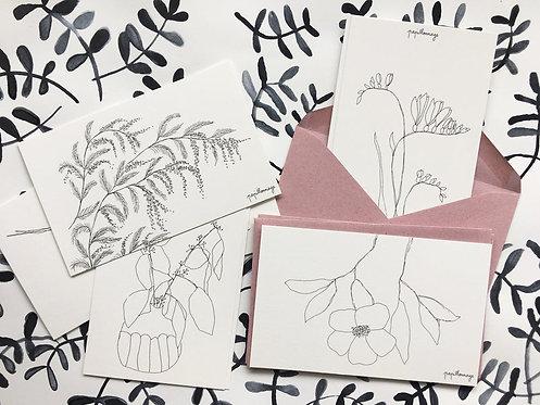 Lot de 8 petites cartes avec enveloppes