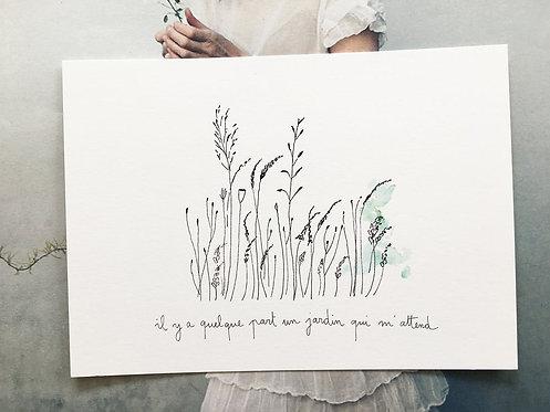 """Grande carte simple """"un jardin"""""""