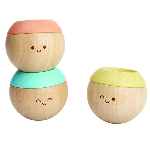 Plan Toys Têtes sensorielles pastel - Set de 3