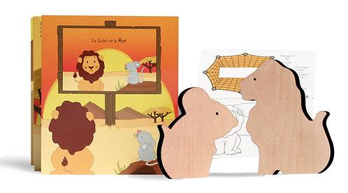 Coffret fable Le lion et le rat Paulette et Sacha