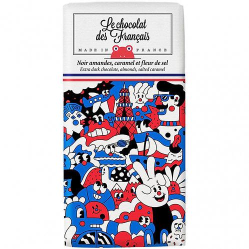 Le Chocolat des Français Tablette Bio Noir amandes, caramel et sel de Guérande