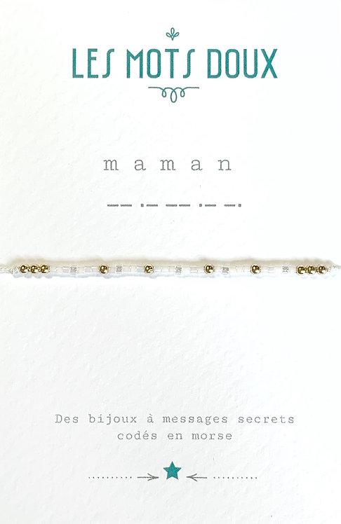 Bracelet code morse Maman (blanc) Les Mots Doux