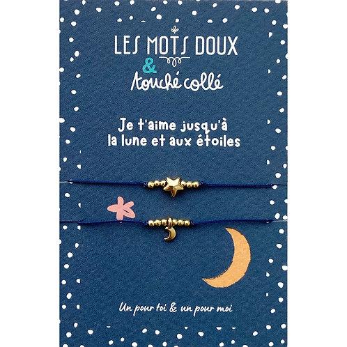 Duo Bracelets code morse : Je t'aime jusqu'à la lune et aux étoiles
