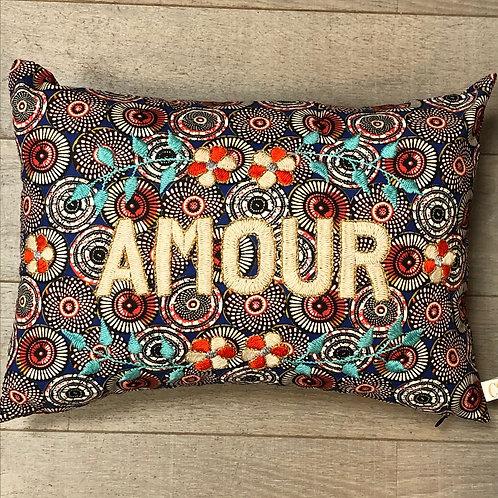 """Coussin brodé main CSAO """"Amour"""""""