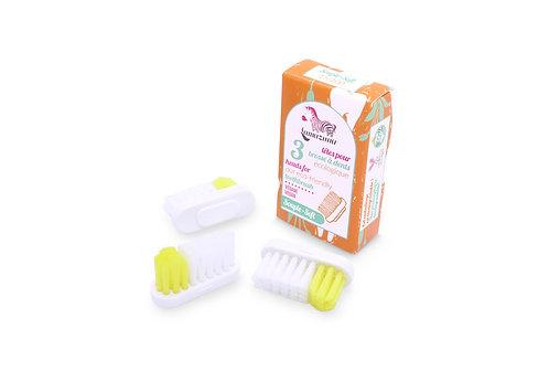 Recharges 3 têtes brosses à dents souples ou médium Lamazuna