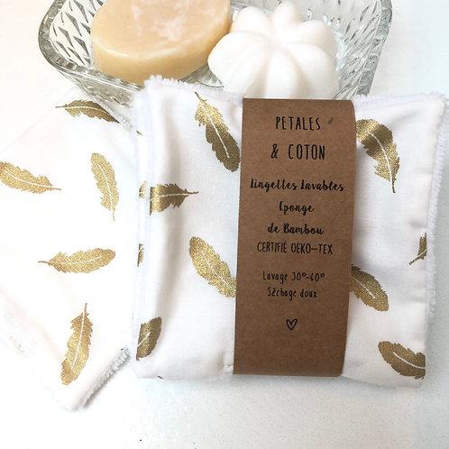 Lingettes lavables tissu Rifle Paper Plumes dorées