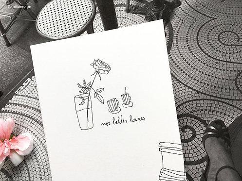 """Carte double avec enveloppe """"nos belles heures"""""""