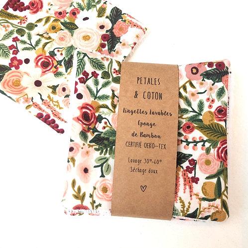 Lingettes lavables tissu Rifle Paper Garden Party Rose