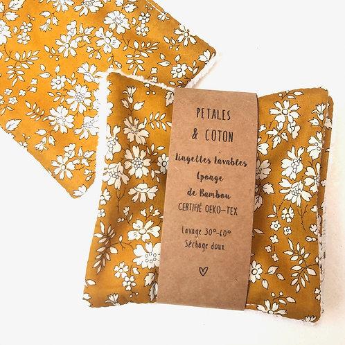 Lingettes lavables tissu Liberty Capel moutarde