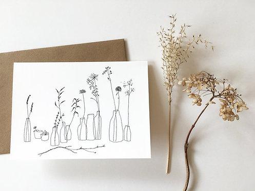 """Carte double avec enveloppe """"Vases de brindilles"""""""
