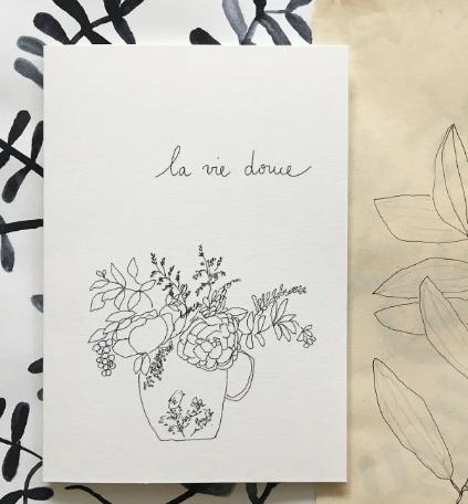"""Carte double avec enveloppe """"la vie douce"""""""