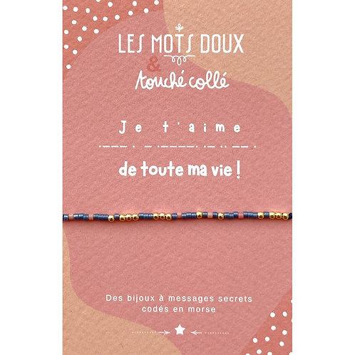 Bracelet code morse : Je t'aime de toute ma vie