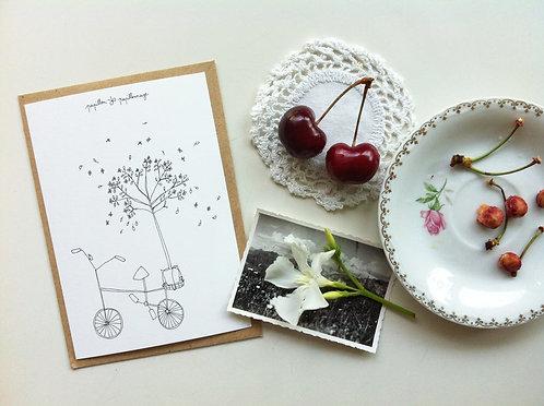 """Carte double avec enveloppe """"Vélo"""""""