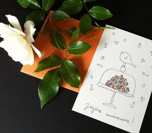 """Carte double avec enveloppe """"Joyeux anniversaire !"""""""