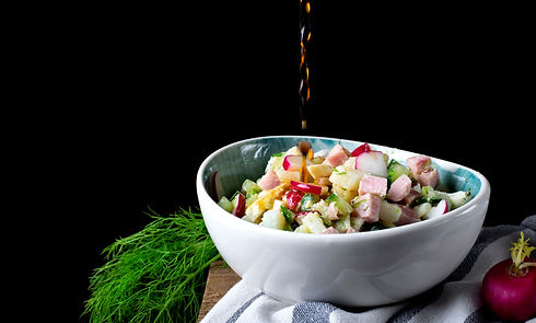 Ingredients for Okroshka cold soup and k