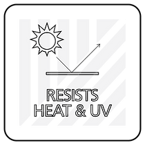 "Black and white icon with ""resists heat and UV"" text"