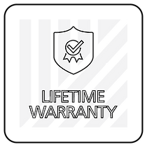 "Black and white icon with ""lifetime warranty"" text"