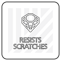 "Black and white icon with ""Resists scratches"" text"