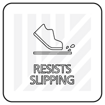"Black and white icon with ""Resists slipping"" text"