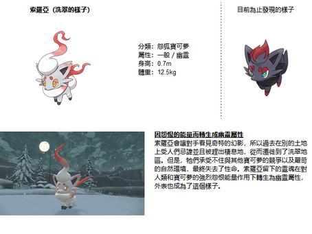 Nintendo Switch軟體《寶可夢傳說 阿爾宙斯》最新資訊發現了洗翠的樣子的索羅亞與索羅亞克!搶先購買,即可獲得「咒狐面具」!