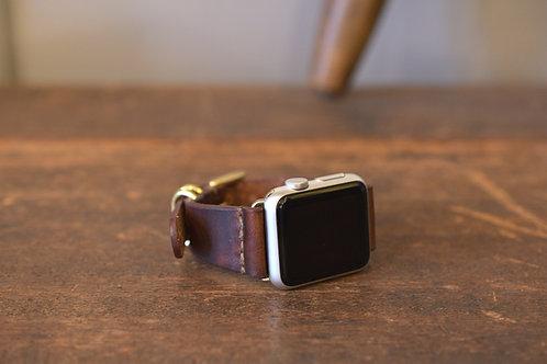 Apple watch leather belt 40mm&38mm  - Brown & Brass -