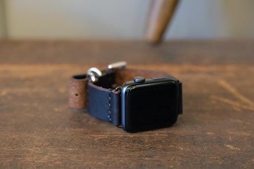 Apple watch leather belt 44mm&42mm  - Black & Silver -