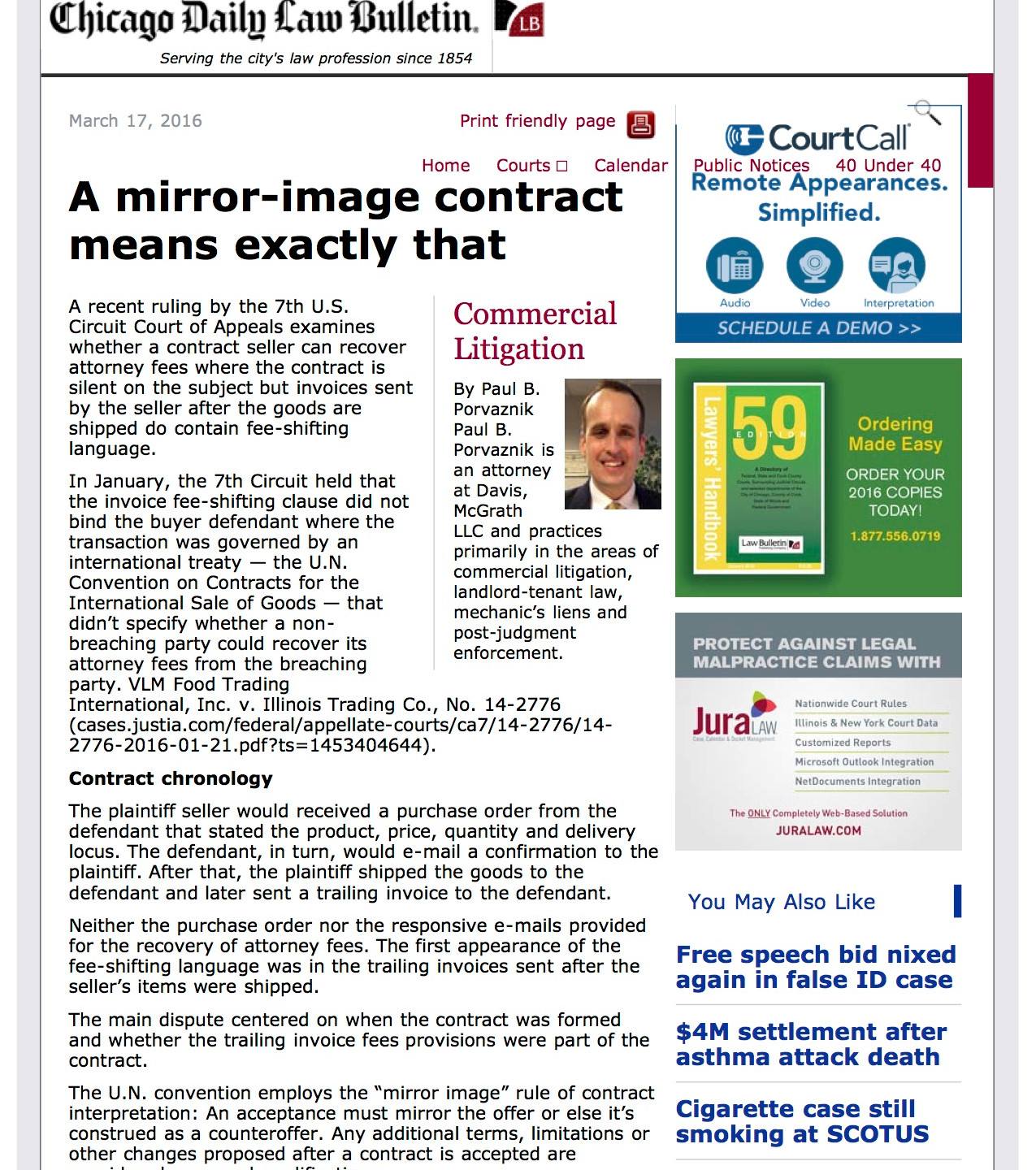 Chicago Daily Law Bulletin - A mirror-image contract means exactly that