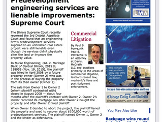 Via Chicago Daily Law Bulletin: Predevelopment Engineering Services are Lienable Improvements - Supr