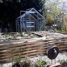 Petit jardin comestible de ville tout juste aménagé