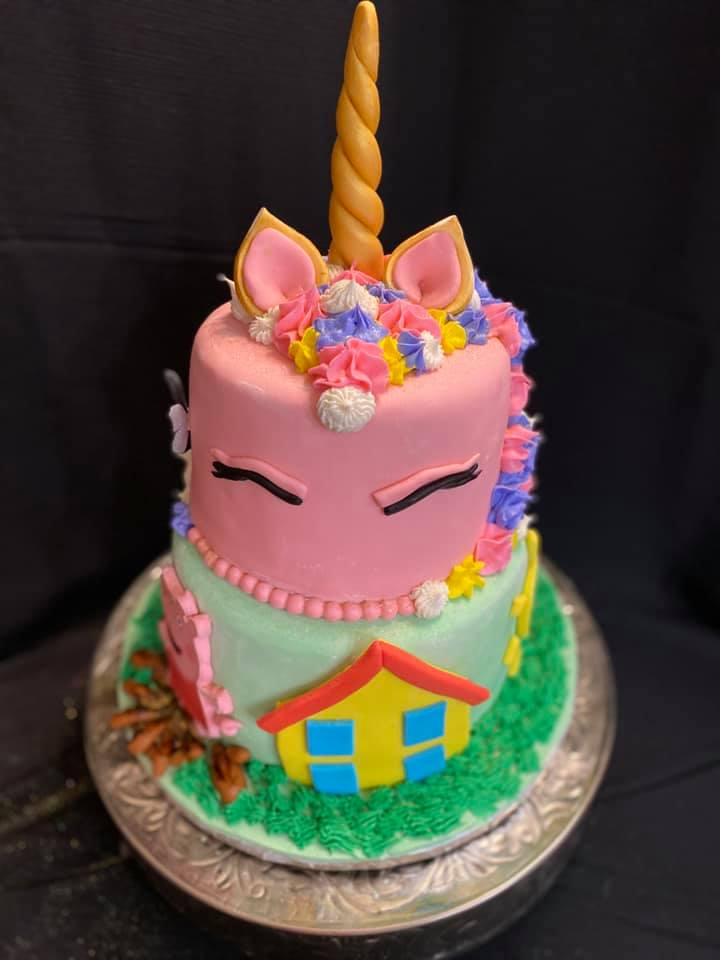 Unicorn and Peppa Pig Cake