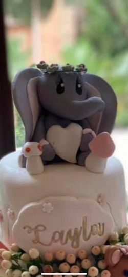 Elephant with flower crown topper