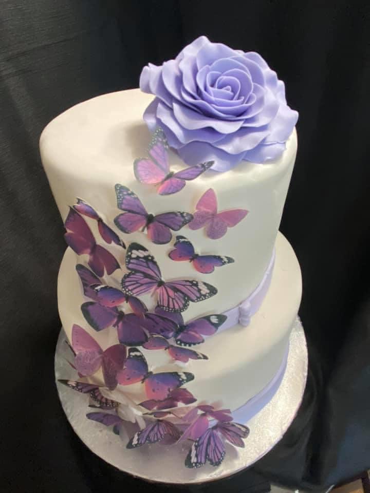 Purple Butterfly Theme Cake