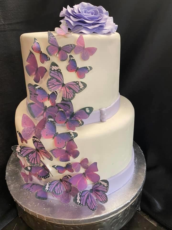 Purple Butterfly Theme Cake2