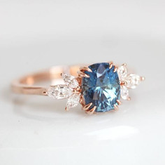 Blue Sapphire Engagement Ring Rose Gold