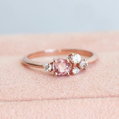 Oval Peach Pink Sapphire Cluster, 14k Rose Gold