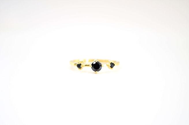 Black Tourmaline Silver Ring, 18kt Yello