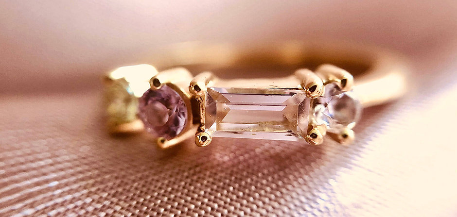 Pink Champagne Cluster Ring, 18tk Gold Vermei