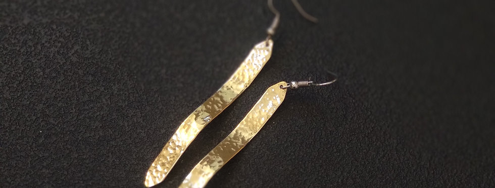 Long Wave Brass Earrings (Hammered)