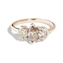 Custom Lash Champagne Diamond Triad Ring