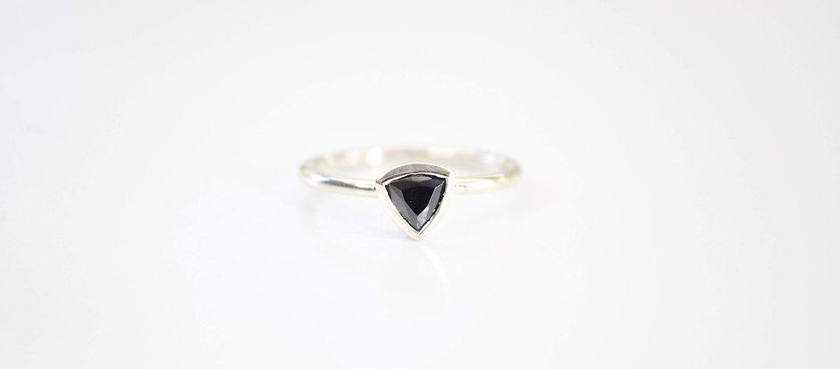 Black Opaque Trillion, Silver Ring