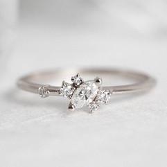 White Diamond Cluster Ring, 14 or 18kt Gold