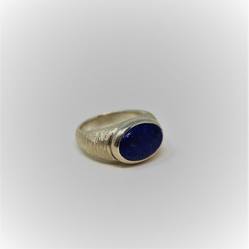 Textured Gypsy Ring- Lapis
