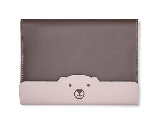 Capa para Caderneta de Vacinação Urso Marrom e Rosa