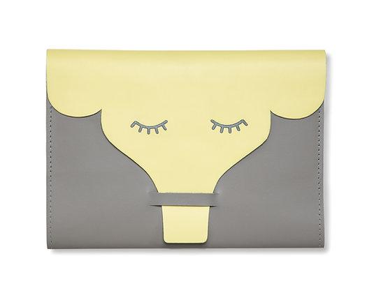 Capa para Caderneta de Vacinação Elefante Cinza e Amarelo