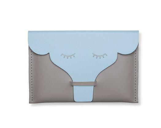 Porta-passaporte/documentos Elefante Cinza e Azul