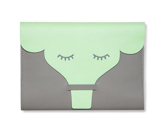 Caderneta de Vacinação Elefante Cinza e Verde