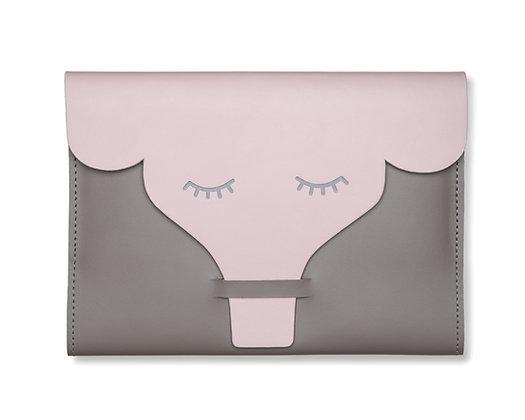 Capa para Caderneta de Vacinação Elefante Cinza e Rosa